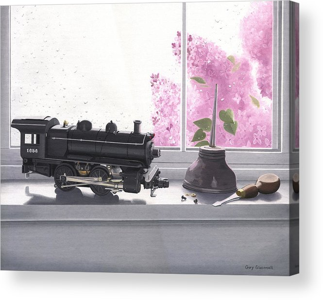 Lionel Acrylic Print featuring the painting Spring Rain Electric Train by Gary Giacomelli