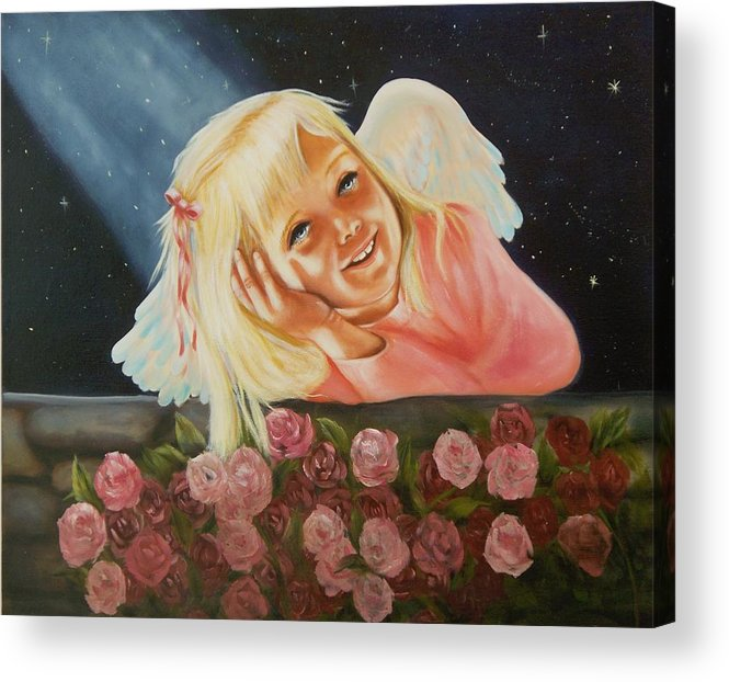 Angel Acrylic Print featuring the painting Starlight Angel by Joni McPherson