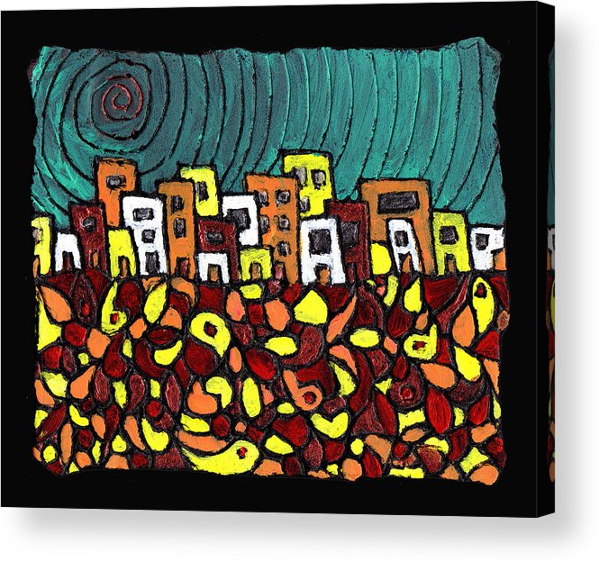 City Acrylic Print featuring the painting Summer In The City by Wayne Potrafka