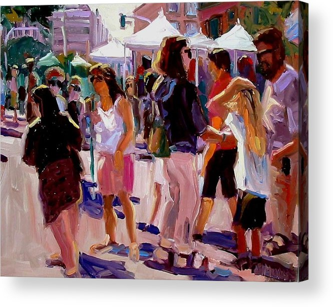 Landscape Paintings Acrylic Print featuring the painting Sunday Market by Brian Simons