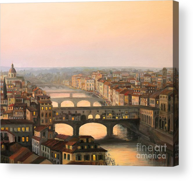 Ancient Acrylic Print featuring the painting Sunset Over Ponte Vecchio In Florence by Kiril Stanchev