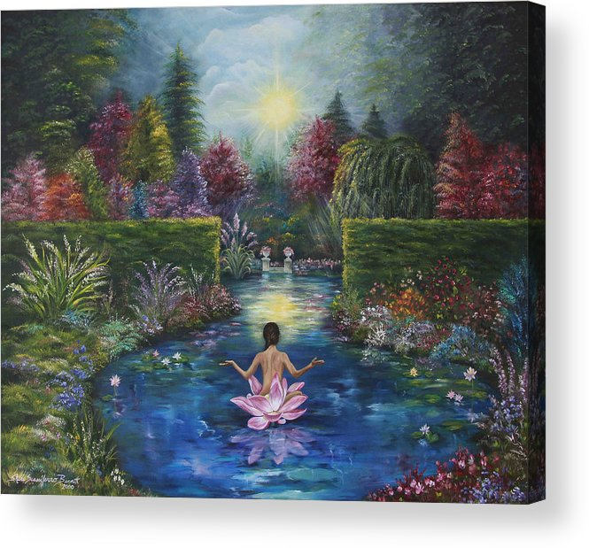 Lotus Acrylic Print featuring the painting Surrender by Sundara Fawn