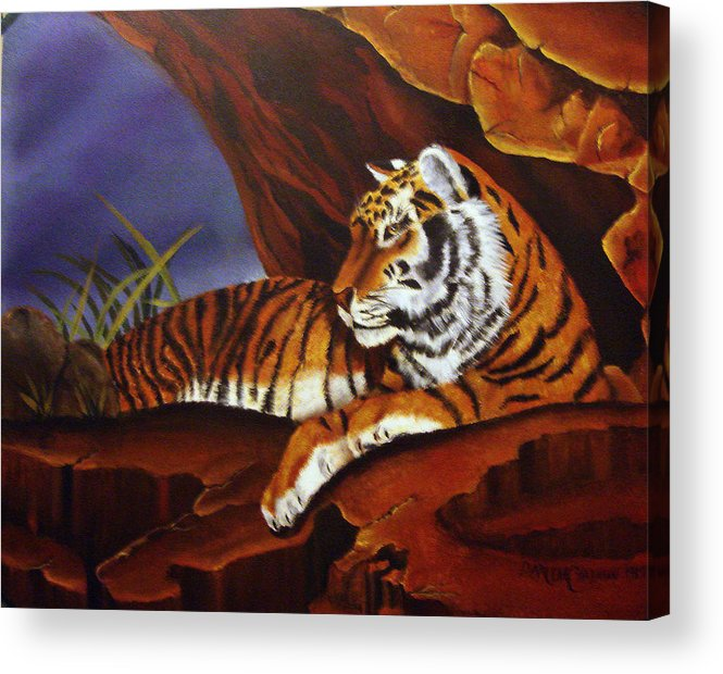 Tiger Acrylic Print featuring the painting Taking Cover by Darlene Green