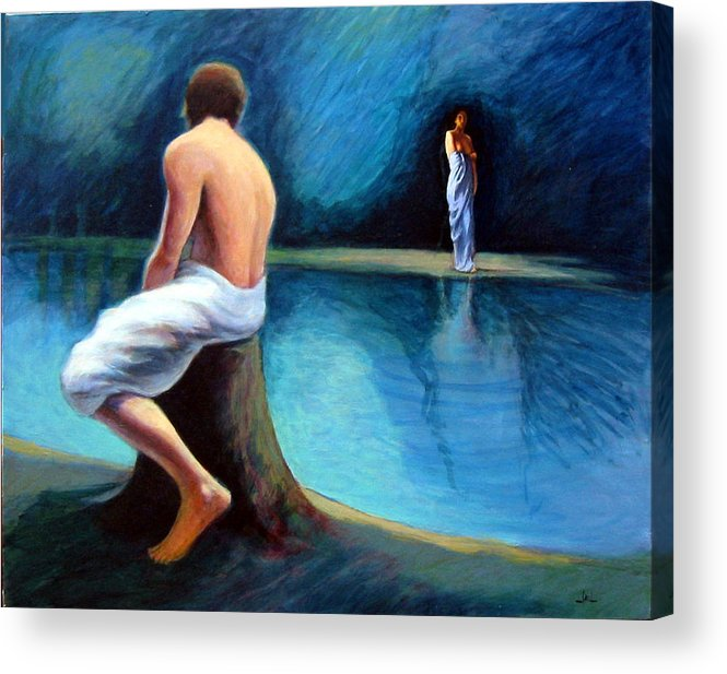 Nightscape Acrylic Print featuring the painting The Couple by James LeGros