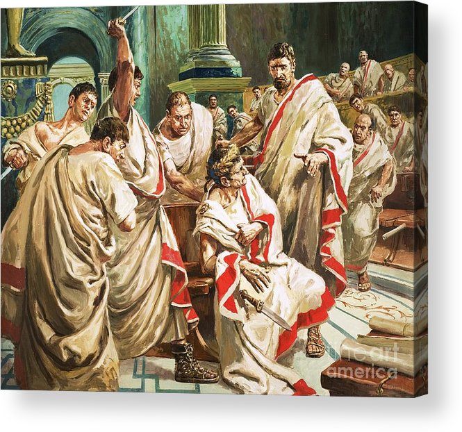 Julius Caesar; Rome; Senate; Senators; Assassination; Murder; Knife; Ides Of March Acrylic Print featuring the painting The Death Of Julius Caesar by C L Doughty