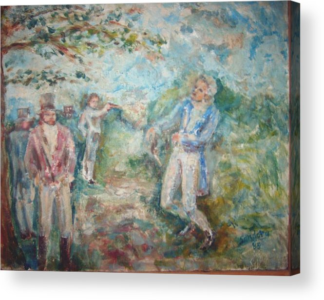 People Landscape Historical Duel Acrylic Print featuring the painting The Duel by Joseph Sandora Jr