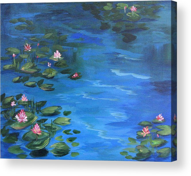 Lily Pond Acrylic Print featuring the painting The Lily Pond II by Torrie Smiley
