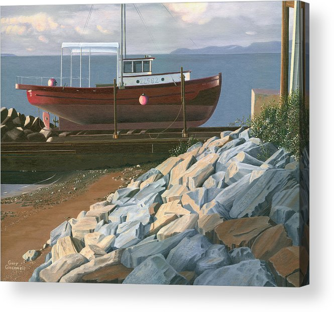 Ship Acrylic Print featuring the painting The Red Troller Revisited by Gary Giacomelli
