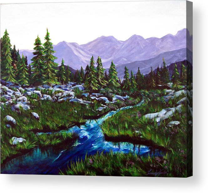 Mountains Acrylic Print featuring the painting The View by Cindy Yeakel