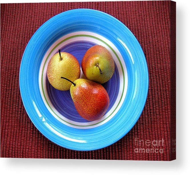 Nature Acrylic Print featuring the photograph Three Pears In A Bowl by Lucyna A M Green