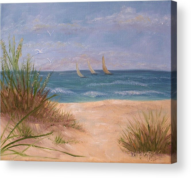Beach Acrylic Print featuring the painting Three Sails by Barbara Harper