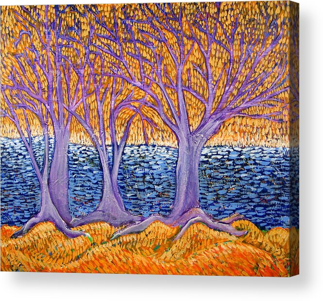 Landscape Acrylic Print featuring the painting Three Trees by Rollin Kocsis