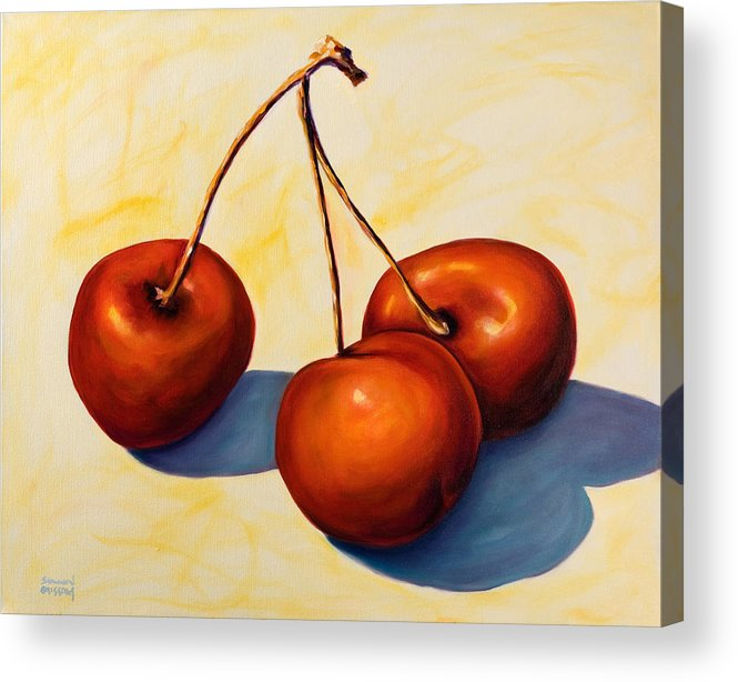 Cherries Acrylic Print featuring the painting Trilogy by Shannon Grissom
