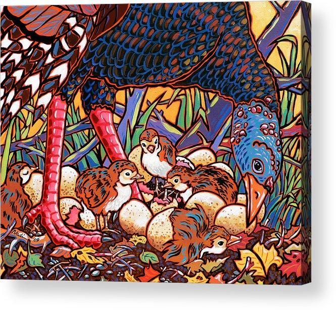 Turkey Acrylic Print featuring the painting Turkeys by Nadi Spencer