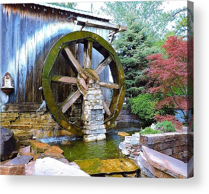 Water Wheel Acrylic Print featuring the photograph Water Wheel In Spring by Peg Donnellan