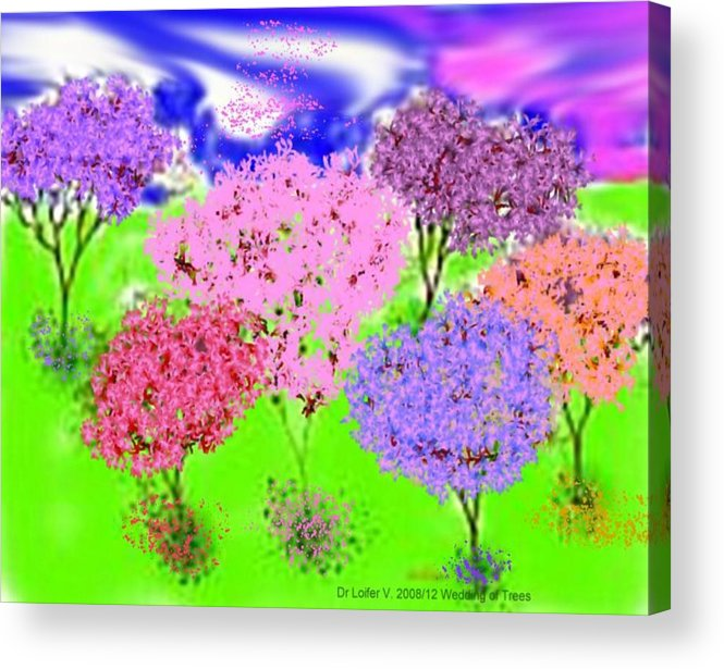 Sky.trees Acrylic Print featuring the digital art Wedding Of Trees by Dr Loifer Vladimir
