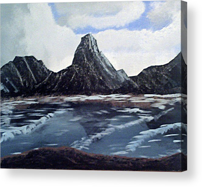 Shipping Dangers Acrylic Print featuring the painting Wet Mountains by James Jones