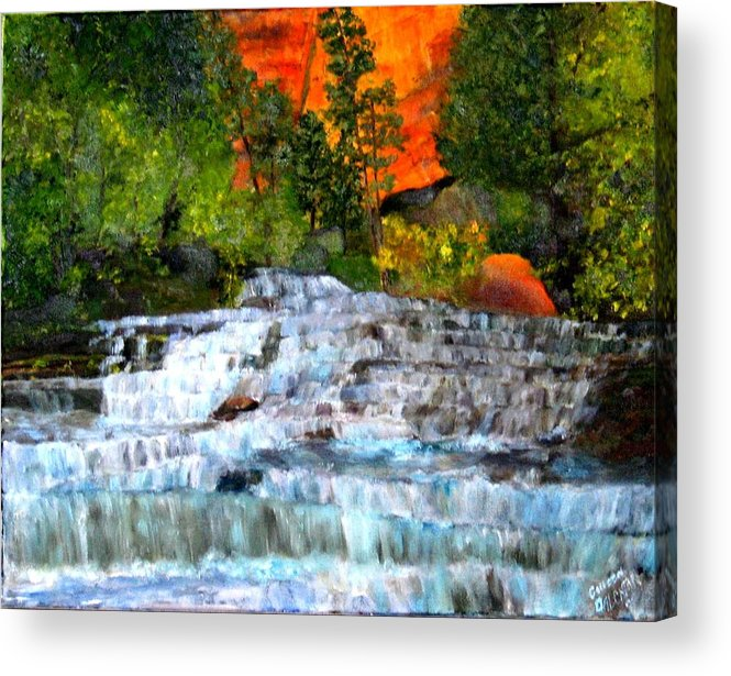 Waterfalls - Utah National Park - Landscape Acrylic Print featuring the painting Zion National Park Utah by Colleen DalCanton