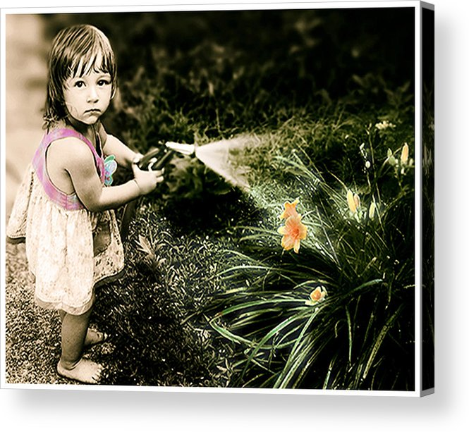 Children Acrylic Print featuring the photograph Zoe Waters The Flowers by Karen W Meyer