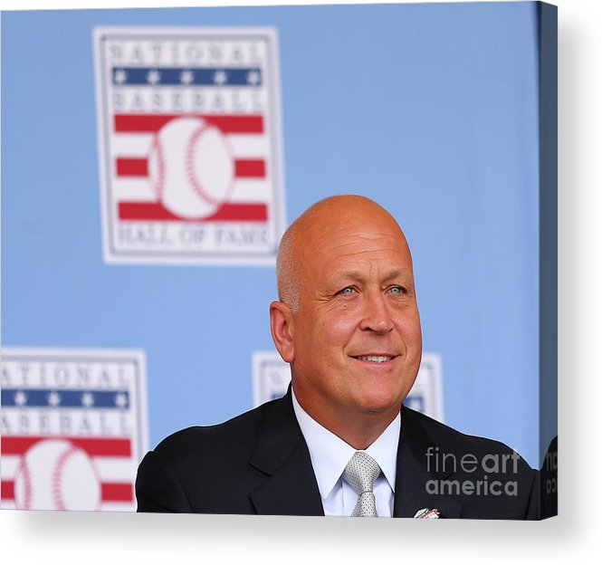 People Acrylic Print featuring the photograph Baseball Hall Of Fame Induction Ceremony by Elsa