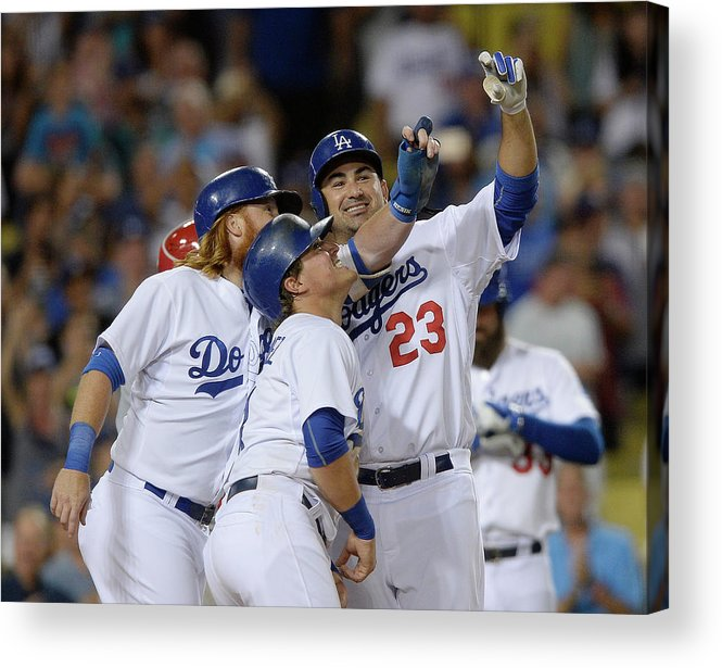 Three Quarter Length Acrylic Print featuring the photograph Cincinnati Reds V Los Angeles Dodgers by Kevork Djansezian