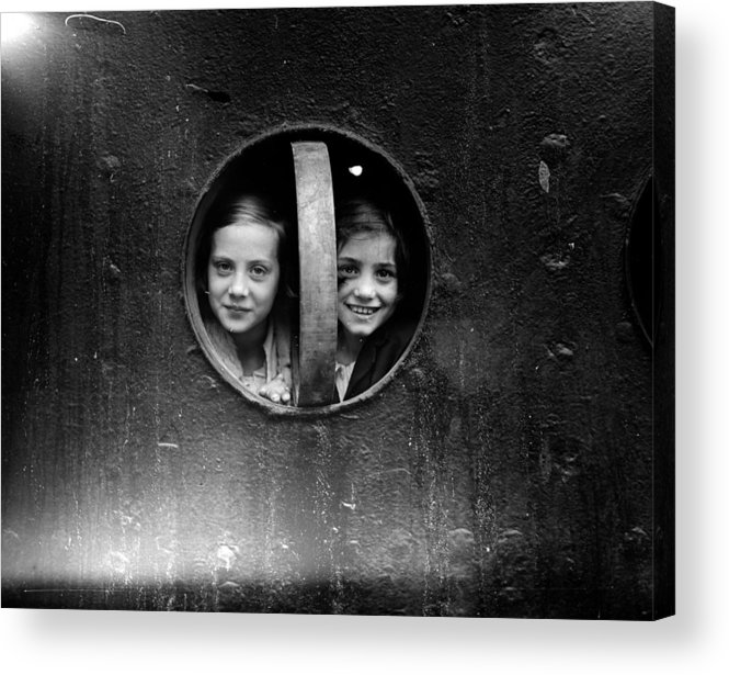 14-15 Years Acrylic Print featuring the photograph Porthole Girls by London Express