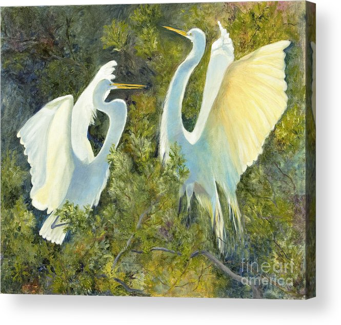 Egrets Acrylic Print featuring the painting Golden Wings by Patricia Huff