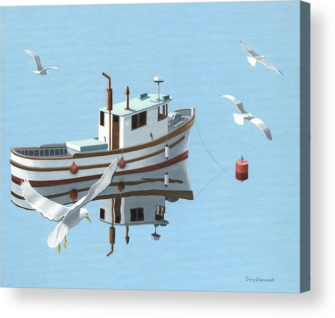 Boat Acrylic Print featuring the painting A Contemplation Of Seagulls by Gary Giacomelli