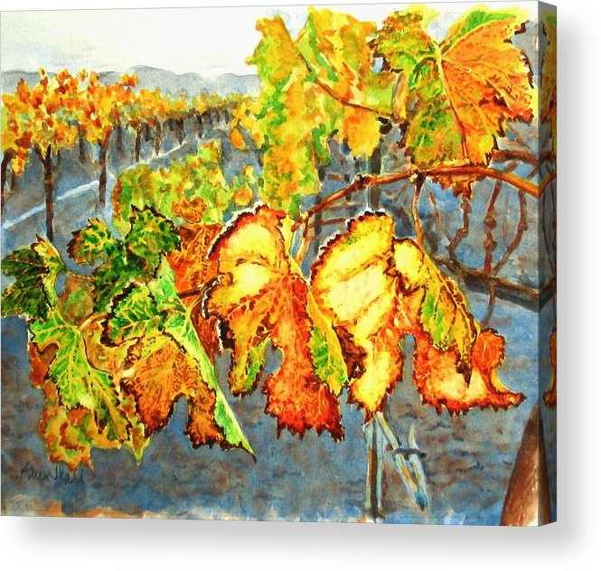 Vineyard Acrylic Print featuring the painting After The Harvest by Karen Ilari