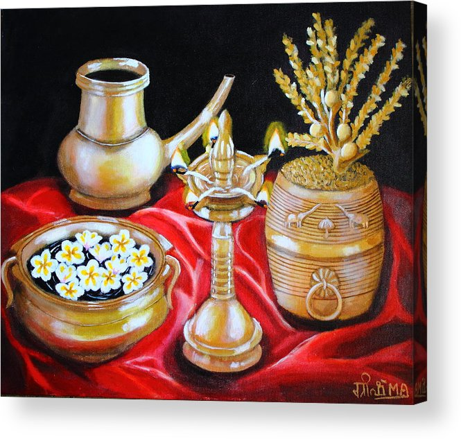 Still Life Bronze Brass Metal Flowers Gold Light Satin Silk Red Golden Shine Traditional Kerala Rituals Grain Lamp Water Carrier Frangipani Flowers Coconut Blossoms Acrylic Print featuring the painting All That Glitters by Greeshma Manari