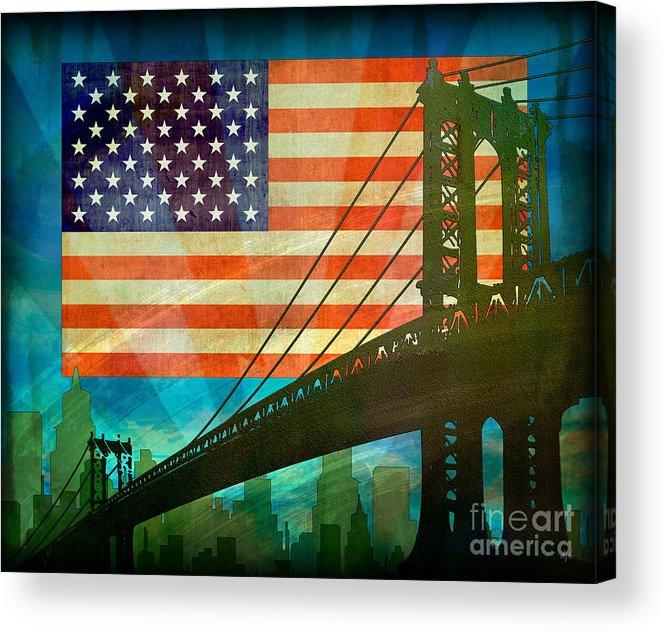 Digital Acrylic Print featuring the digital art American Pride by Bedros Awak
