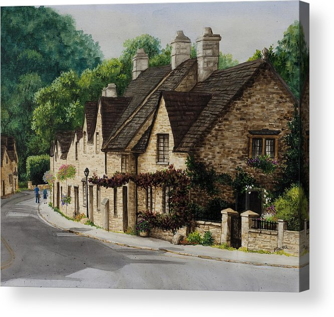 Architecture Acrylic Print featuring the painting Cotswold Street by Mary Palmer