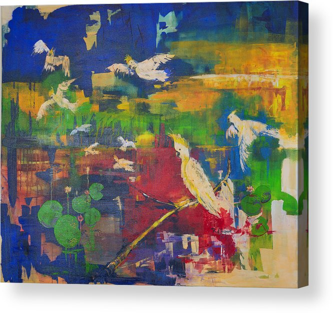 Bird Acrylic Print featuring the painting Dancing Cockatoos by Rosa D' Argent