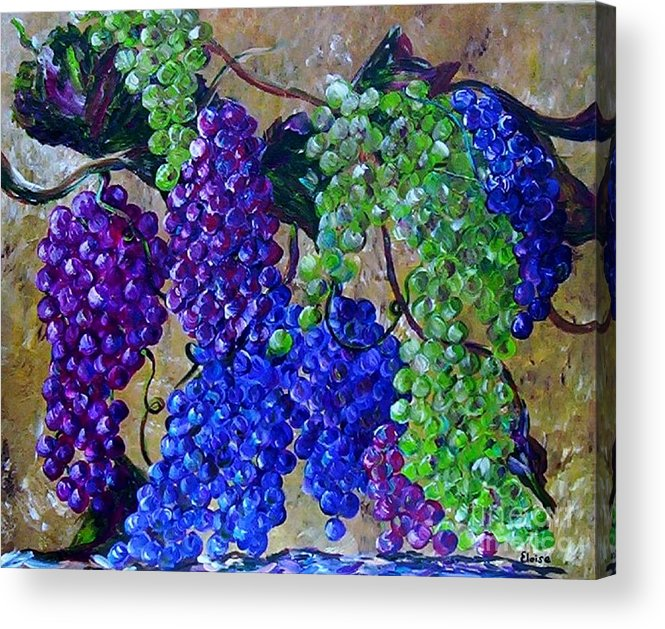 Grapes Acrylic Print featuring the painting Festival Of Grapes by Eloise Schneider