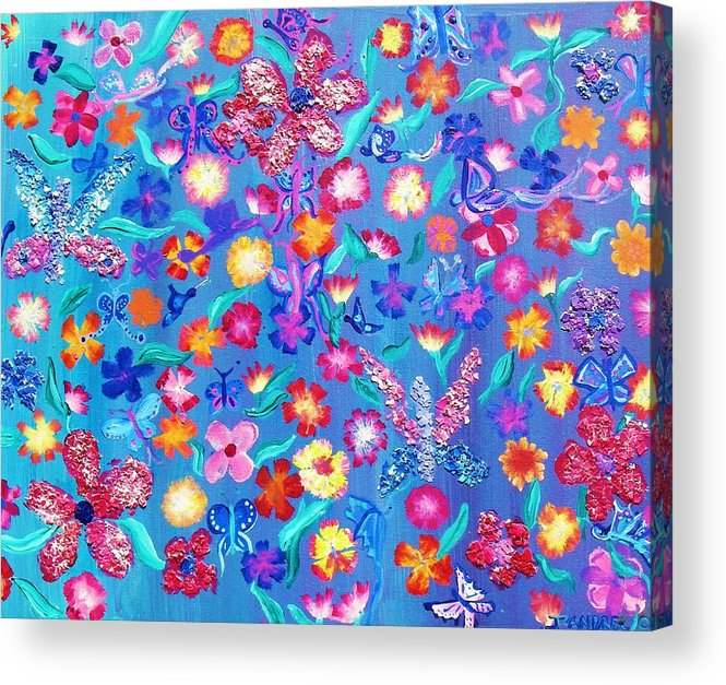 Floral Acrylic Print featuring the painting Flowers And Butterflies by J Andrel