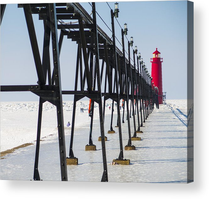 Grand Haven Acrylic Print featuring the photograph Grand Haven Lighthouse Pier In Winter by Kirsten Dykstra