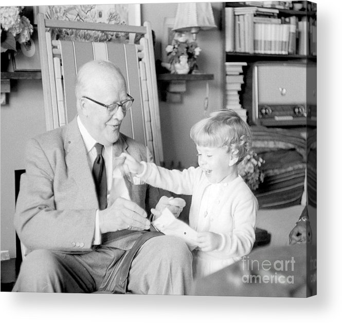 Grandfather Acrylic Print featuring the photograph Grandfather Plays With Child by Julie Von Knorr Wedekind