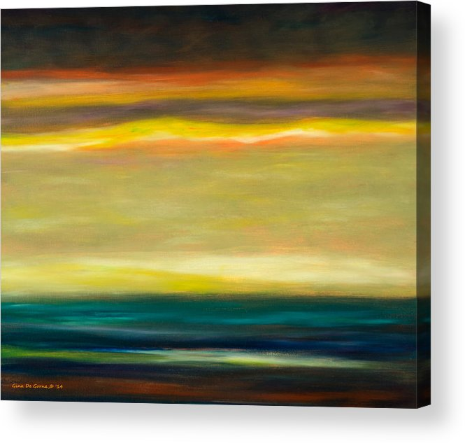 Brown Acrylic Print featuring the painting Horizons by Gina De Gorna