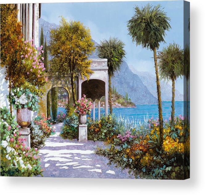 Lake Acrylic Print featuring the painting Lake Como-la Passeggiata Al Lago by Guido Borelli