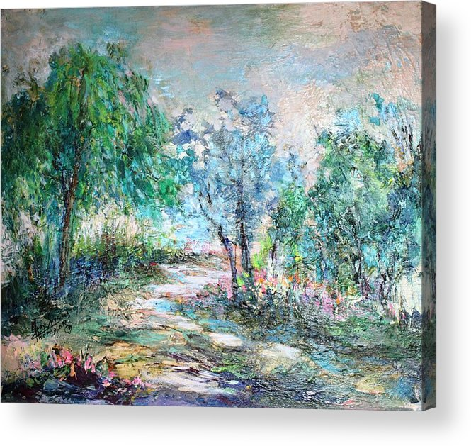 Trees Acrylic Print featuring the painting Majestic by Mary Spyridon Thompson