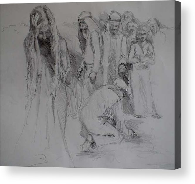 People Acrylic Print featuring the drawing Mercy Sketch by Jani Freimann