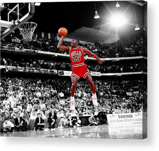 b6c0f5568e85ef Michael Jordan Acrylic Print featuring the digital art Michael Jordan Slam  Dunk Contest by Brian Reaves