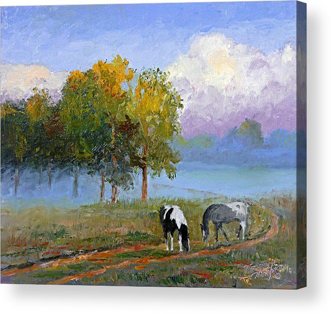 Landscape Acrylic Print featuring the painting Morning At Foggy Bottom by Tommy Thompson