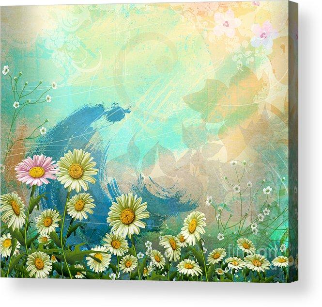 Daisy Acrylic Print featuring the digital art One Pink Daisy by Bedros Awak