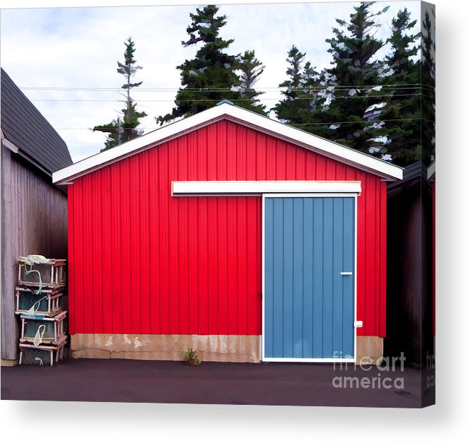 Red Acrylic Print featuring the photograph Red Fishing Shack Pei by Edward Fielding