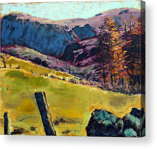 Sunny Day In The Countryside Acrylic Print featuring the painting Sunny Day In The Countryside by Uma Krishnamoorthy
