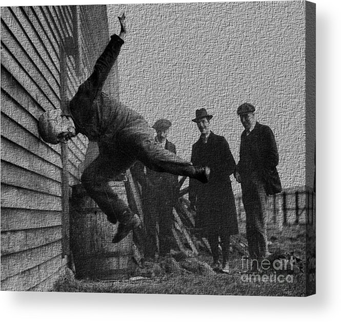 Testing Acrylic Print featuring the photograph Testing Football Helmets In 1912 Ouchhhhh by R Muirhead Art