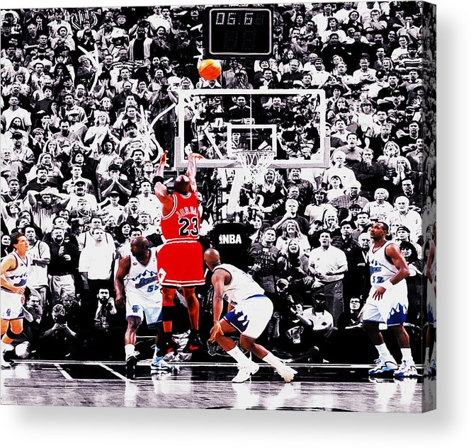 Michael Jordan Acrylic Print featuring the digital art The Last Shot by Brian Reaves