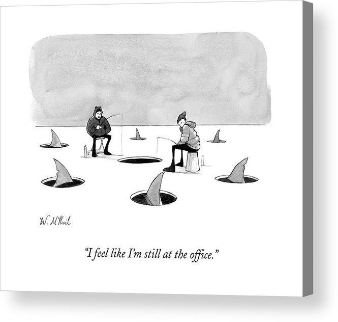 Cctk Ice Fishing Acrylic Print featuring the drawing Two Men Ice Fishing by Will McPhail