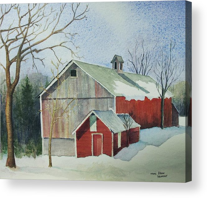 Christmas Card Acrylic Print featuring the painting Williston Barn by Mary Ellen Mueller Legault